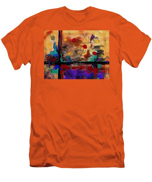 Abstract Yellow Horizontal Men's T-Shirt (Athletic Fit)