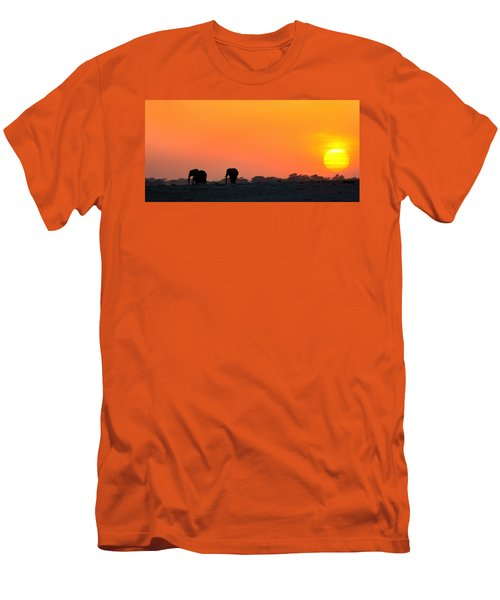 Men's T-Shirt (Slim Fit) featuring the photograph African Elephant Sunset by Amanda Stadther