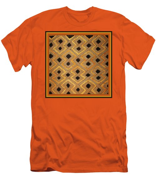 Men's T-Shirt (Slim Fit) featuring the digital art African Zaire Congo Kuba Textile by Vagabond Folk Art - Virginia Vivier
