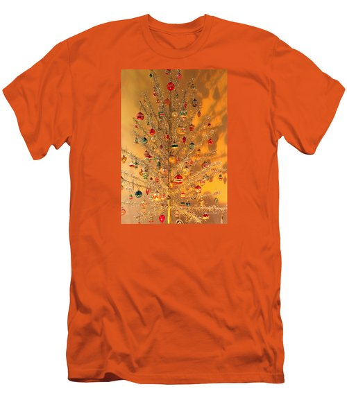 An Old Fashioned Christmas - Aluminum Tree Men's T-Shirt (Slim Fit) by Suzanne Gaff