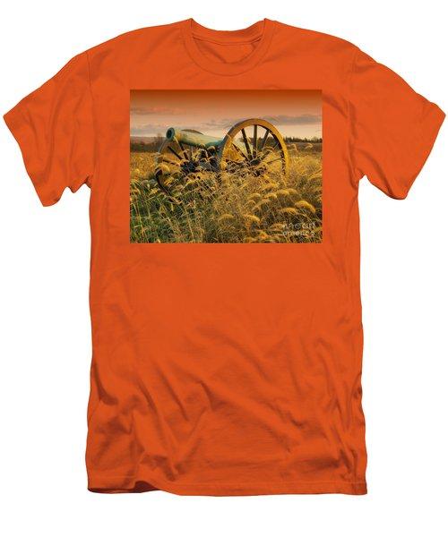 Men's T-Shirt (Slim Fit) featuring the photograph Antietam Maryland Cannon Battlefield Landscape by Paul Fearn