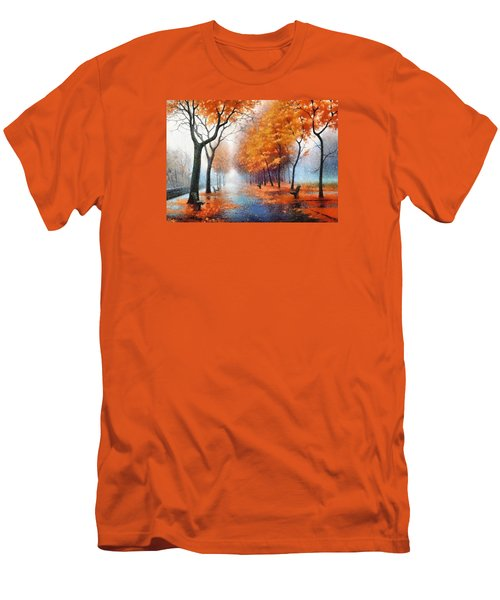 Men's T-Shirt (Slim Fit) featuring the photograph Autumn Boulevard by Charmaine Zoe