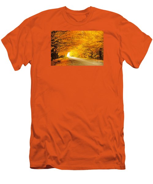 Autumn Tunnel Of Gold 8 Men's T-Shirt (Slim Fit) by Terri Gostola