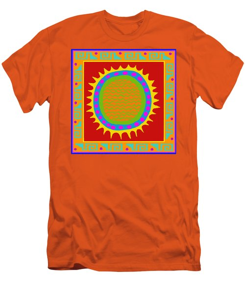Men's T-Shirt (Slim Fit) featuring the digital art Aztec Del Sol by Vagabond Folk Art - Virginia Vivier