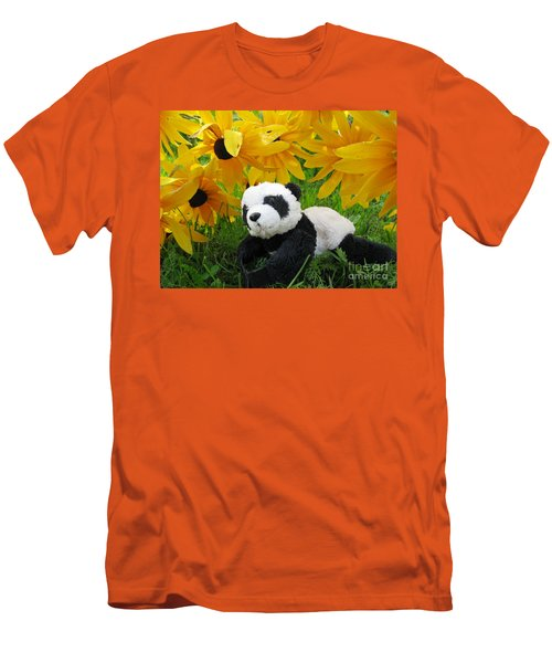 Men's T-Shirt (Slim Fit) featuring the photograph Baby Panda Under The Golden Sky by Ausra Huntington nee Paulauskaite