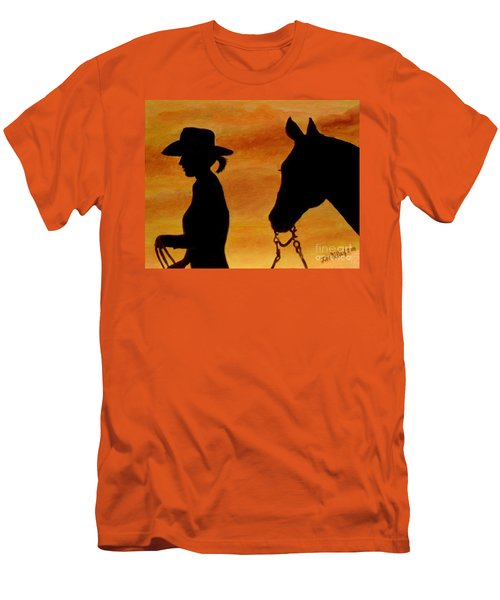 Men's T-Shirt (Slim Fit) featuring the painting Back To The Barn by Julie Brugh Riffey