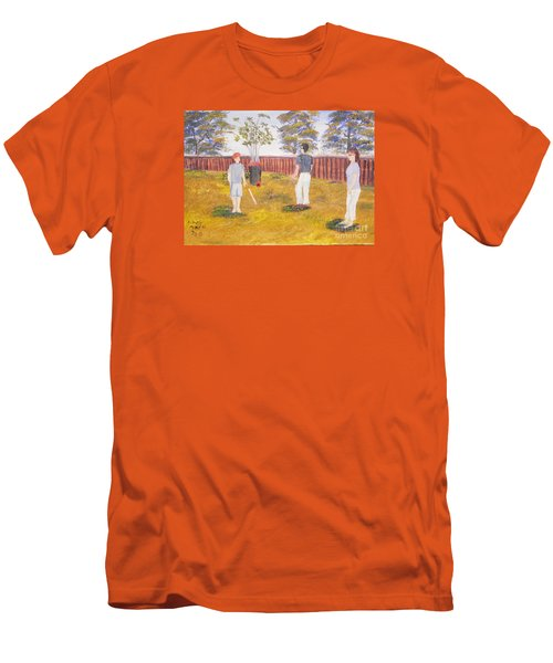 Men's T-Shirt (Slim Fit) featuring the painting Backyard Cricket Under The Hot Australian Sun by Pamela  Meredith