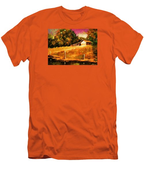 Barn Above The Creekbed Men's T-Shirt (Slim Fit) by Al Brown