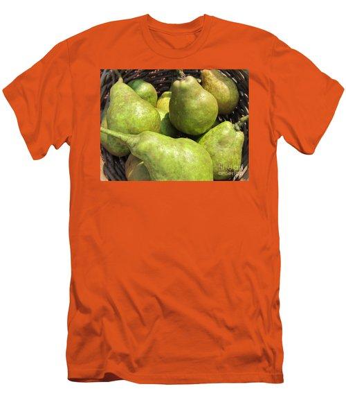 Basket Of Green Pears Men's T-Shirt (Slim Fit) by Susan Carella