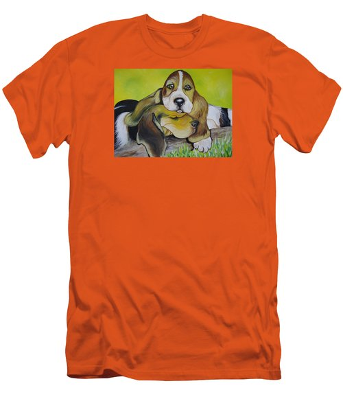 Men's T-Shirt (Slim Fit) featuring the painting Bassett Hound Pups by Leslie Manley
