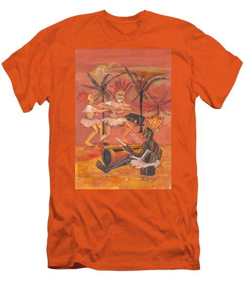 Men's T-Shirt (Slim Fit) featuring the painting Bikutsi Dance From Cameroon by Emmanuel Baliyanga