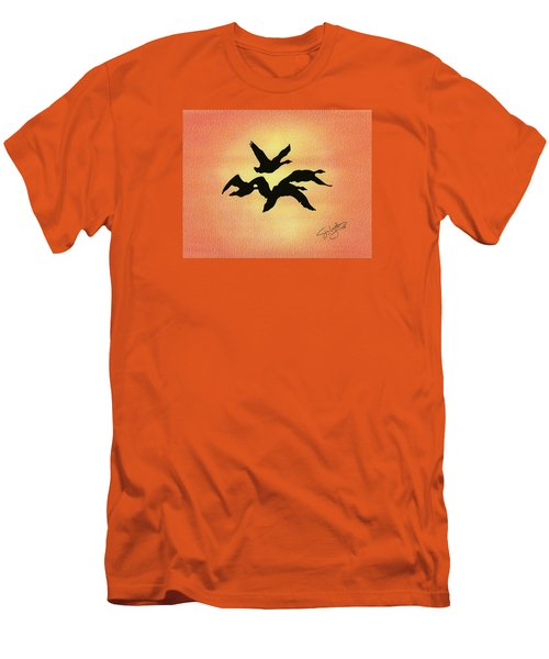 Men's T-Shirt (Slim Fit) featuring the drawing Birds Of Flight by Troy Levesque