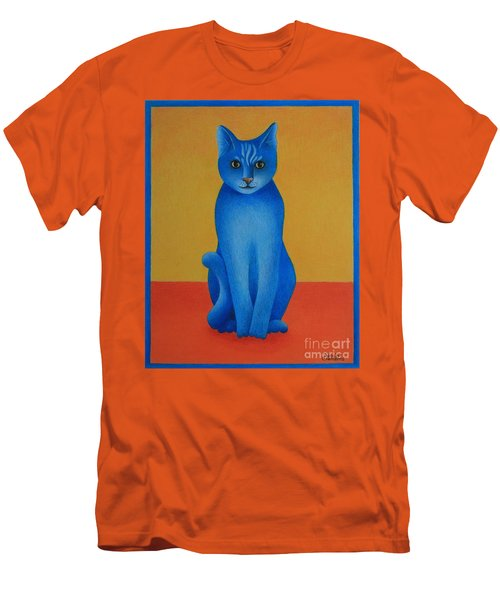 Men's T-Shirt (Slim Fit) featuring the painting Blue Cat by Pamela Clements