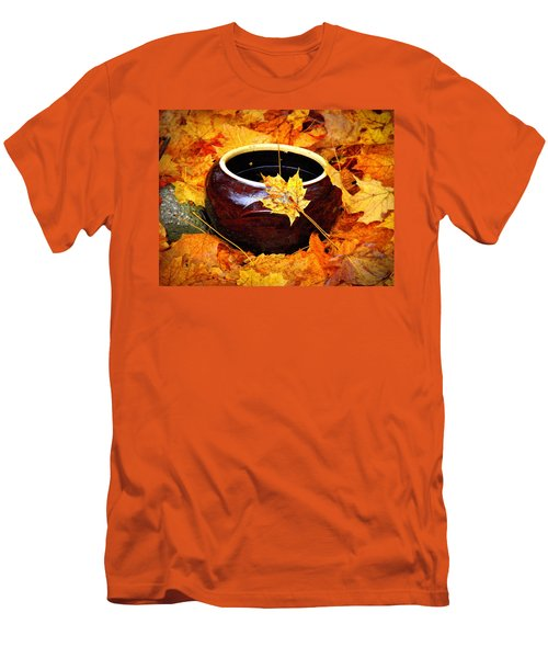 Men's T-Shirt (Slim Fit) featuring the photograph Bowl And Leaves by Rodney Lee Williams