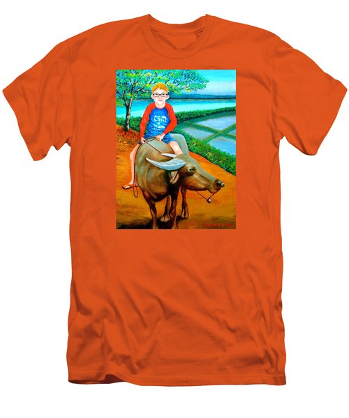 Boy Riding A Carabao Men's T-Shirt (Athletic Fit)