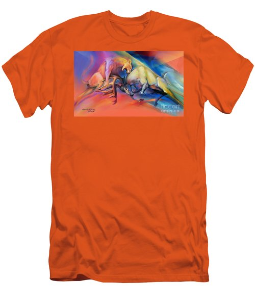 Men's T-Shirt (Slim Fit) featuring the painting Buck Off by Rob Corsetti