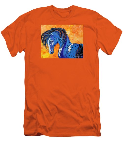 Men's T-Shirt (Slim Fit) featuring the painting Cadet The Blue Horse by Janice Rae Pariza