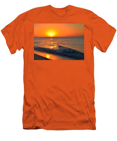 Calm And Clear Sunrise On Navarre Beach With Small Perfect Wave Men's T-Shirt (Slim Fit) by Jeff at JSJ Photography
