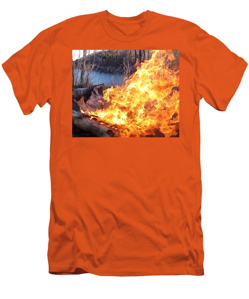 Men's T-Shirt (Slim Fit) featuring the photograph Campfire by James Peterson