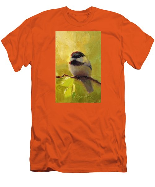 Chatty Chickadee - Cheeky Bird Men's T-Shirt (Slim Fit) by Karen Whitworth