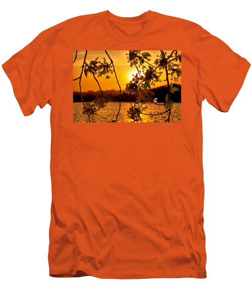 Men's T-Shirt (Slim Fit) featuring the photograph Cherry Blossom Sunset by Mitchell R Grosky