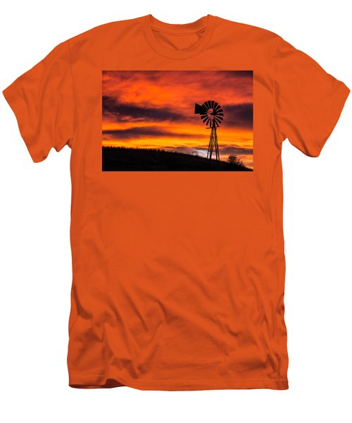 Cobblestone Windmill At Sunset Men's T-Shirt (Athletic Fit)