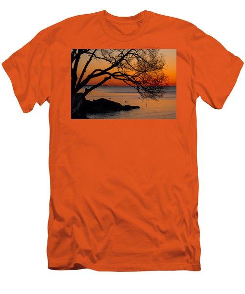 Colorful Quiet Sunrise On Lake Ontario In Toronto Men's T-Shirt (Slim Fit) by Georgia Mizuleva