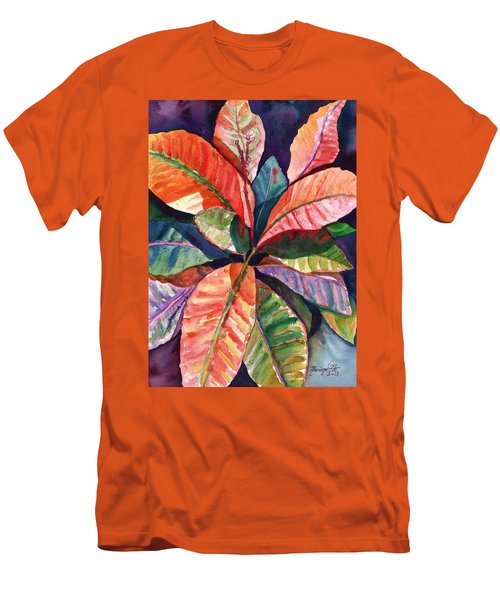 Men's T-Shirt (Slim Fit) featuring the painting Colorful Tropical Leaves 1 by Marionette Taboniar