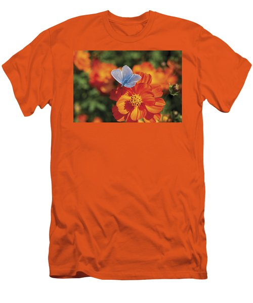Men's T-Shirt (Slim Fit) featuring the photograph Common Blue Butterfly by Lana Enderle
