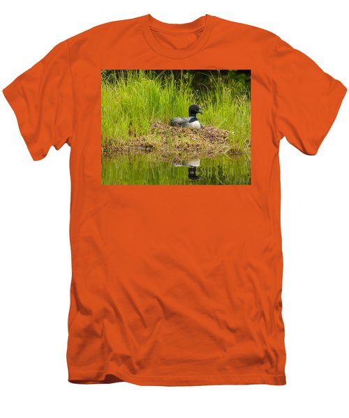 Men's T-Shirt (Slim Fit) featuring the photograph Common Loon Nesting by Brenda Jacobs