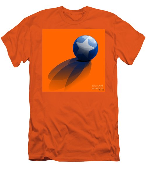 Men's T-Shirt (Slim Fit) featuring the digital art Blue Ball Decorated With Star Orange Background by R Muirhead Art