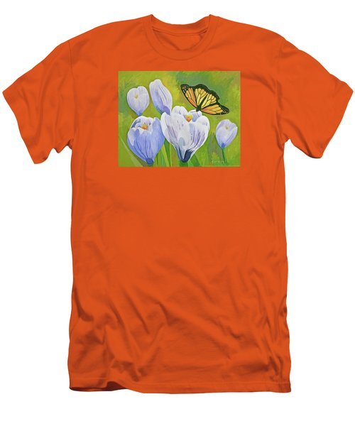 Crocus And Monarch Butterfly Men's T-Shirt (Athletic Fit)