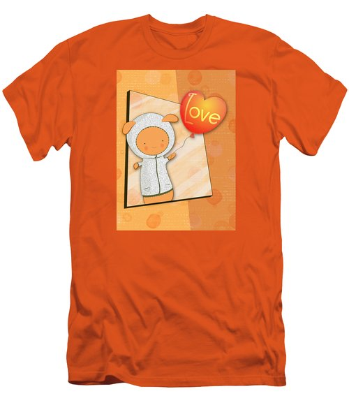 Men's T-Shirt (Slim Fit) featuring the photograph Cute Lots Of Love Love You Cute Character Holding A Love Balloons  by Lenny Carter