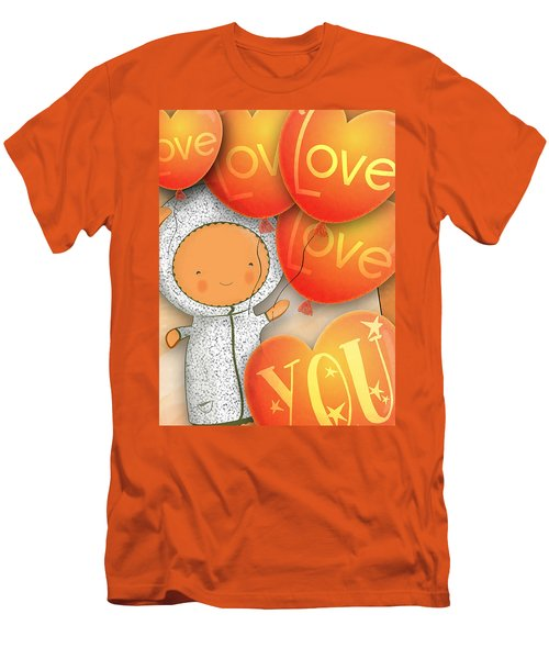 Men's T-Shirt (Slim Fit) featuring the photograph Cute Teddy With Lots Of Love Balloons by Lenny Carter