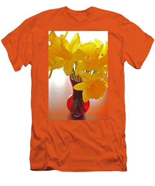 Men's T-Shirt (Slim Fit) featuring the photograph Daffodils In Red Vase by Diane Alexander