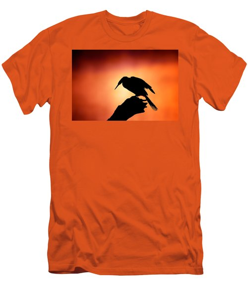 Darter Silhouette With Misty Sunrise Men's T-Shirt (Athletic Fit)