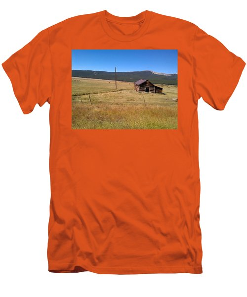 Men's T-Shirt (Slim Fit) featuring the photograph Deserted Cabin by Fortunate Findings Shirley Dickerson