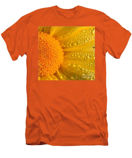 Men's T-Shirt (Slim Fit) featuring the photograph Dew Drops On Daisy by Terri Gostola
