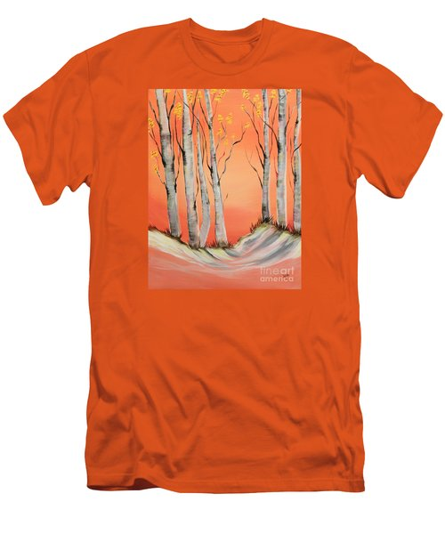 Men's T-Shirt (Slim Fit) featuring the painting Early Winter Aspen by Janice Rae Pariza