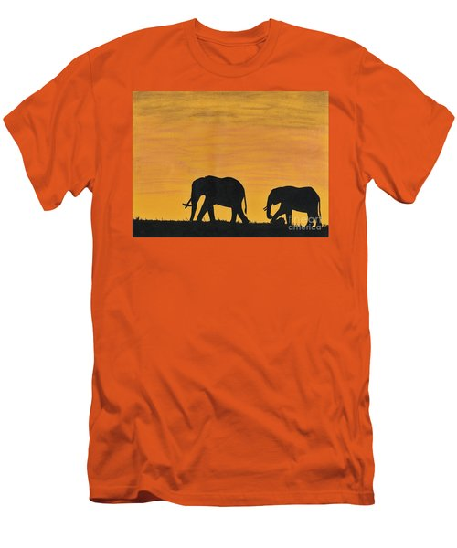 Elephants - At - Sunset Men's T-Shirt (Athletic Fit)