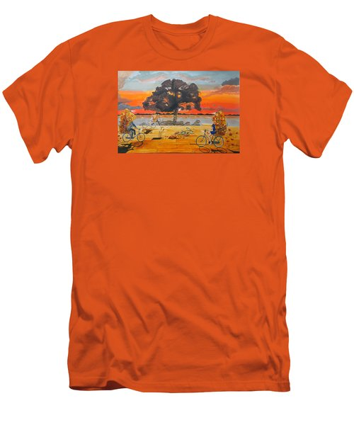 Men's T-Shirt (Slim Fit) featuring the painting End Of Season Habits Listen With Music Of The Description Box by Lazaro Hurtado