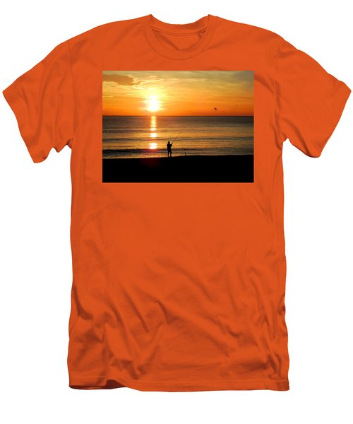 Fishing At Sunrise Men's T-Shirt (Athletic Fit)