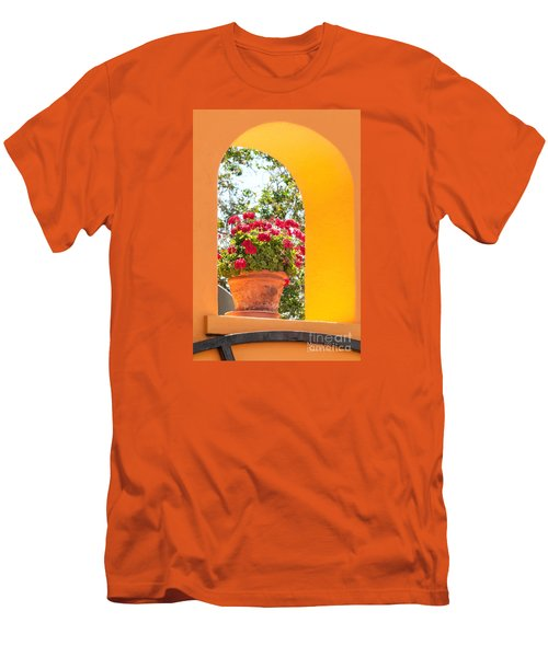 Men's T-Shirt (Athletic Fit) featuring the photograph Flowerpot In A Mexican Wall by David Perry Lawrence