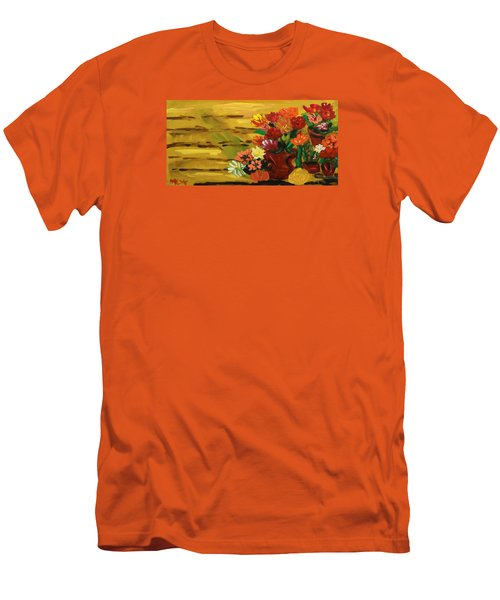 Flowers At The Side Of The House Men's T-Shirt (Slim Fit) by Mary Carol Williams