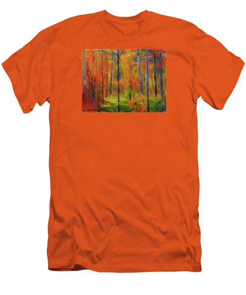 Men's T-Shirt (Slim Fit) featuring the painting Forest In The Fall by Bruce Nutting