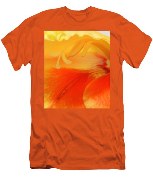 Gladiola Hello Men's T-Shirt (Slim Fit) by Deborah  Crew-Johnson