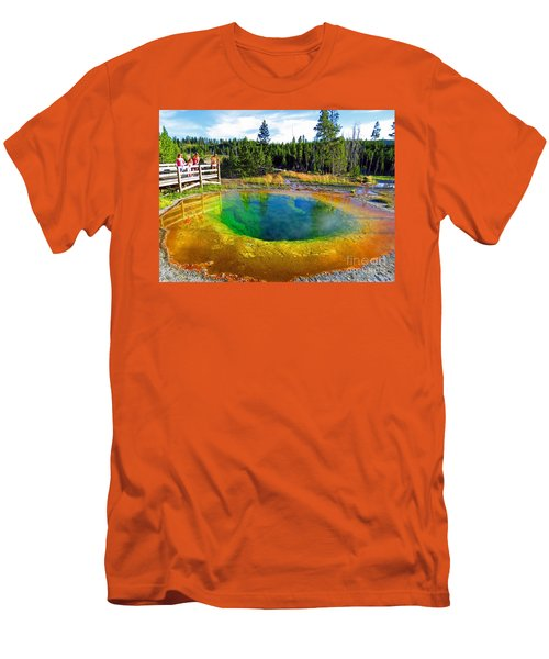 Glory Pool Yellowstone National Park Men's T-Shirt (Slim Fit) by Ausra Huntington nee Paulauskaite