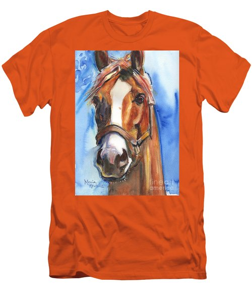Horse Painting Of California Chrome Go Chrome Men's T-Shirt (Slim Fit) by Maria's Watercolor