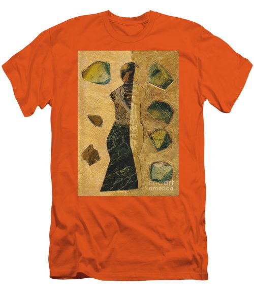 Gold Black Female Men's T-Shirt (Slim Fit) by Patricia Cleasby
