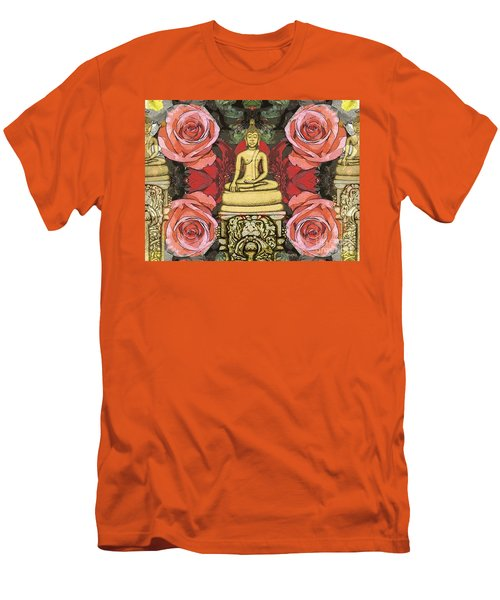 Men's T-Shirt (Slim Fit) featuring the painting Golden Buddha In The Garden by Joseph J Stevens